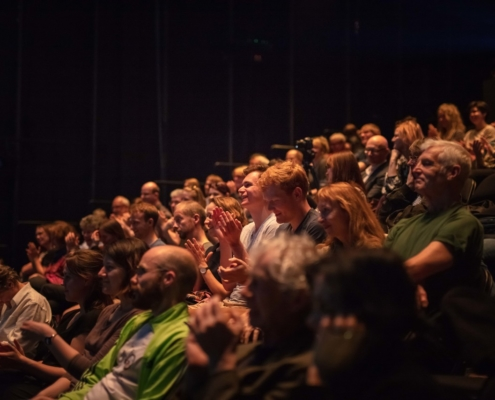 "Bei ""Theater trifft Wissenschaft"". Bild: Moritz Haase"